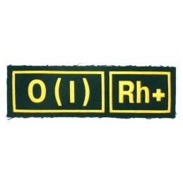 Naszywka 0 (I) Rh+ zielona